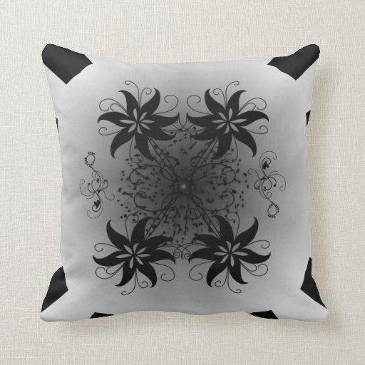 Preto e branco abstrato travesseiros