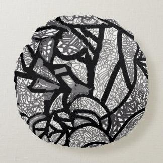 Preto e branco almofada redonda