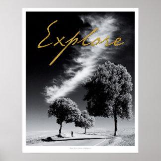 """Preto e branco """"explore"""" o poster pôster"""