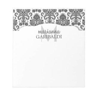Preto e branco moderno do damasco personalizado bloco de notas