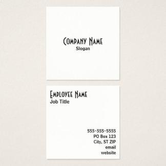 Preto e branco simples cartão de visitas quadrado