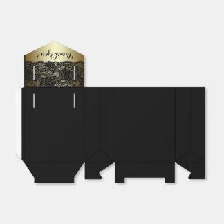 Preto e caixas do favor do laço do ouro caixinha de lembrancinhas para festas