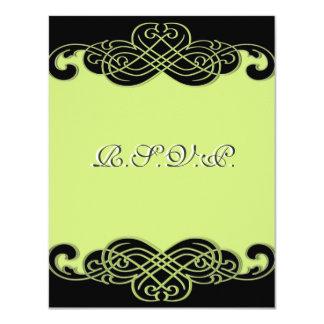 Preto e cartão verde do rolo RSVP da pera Convite 10.79 X 13.97cm