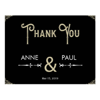 Preto e cartões de agradecimentos da tipografia do cartão postal