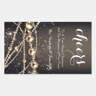 Preto e etiqueta da garrafa de vinho do Natal da Adesivo Retangular