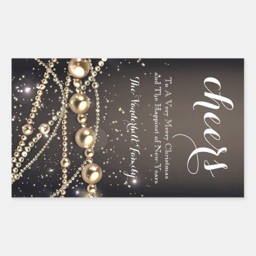 Preto e etiqueta da garrafa de vinho do Natal da Adesivos Em Formato Retangulares