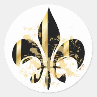 Preto e flor de lis do ouro adesivo