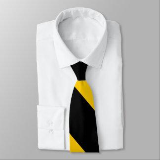 Preto e listra larga amarela dourada da gravata