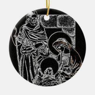 Preto e natividade do ouro ornamento de cerâmica redondo
