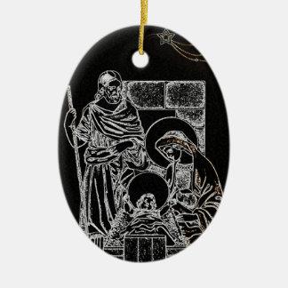 Preto e natividade do ouro ornamento de cerâmica oval