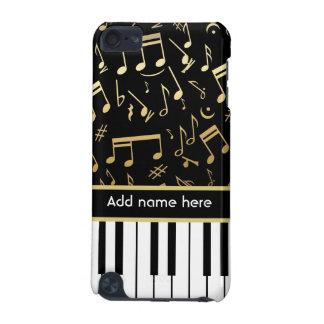 Preto e ouro das notas musicais e das chaves do capa para iPod touch 5G