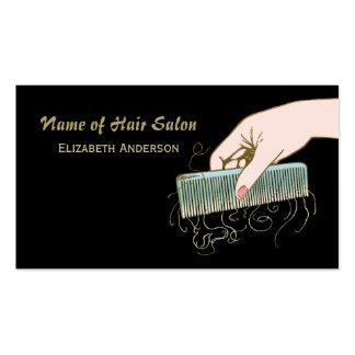 Preto e pente e ondas do vintage do cabeleireiro cartão de visita