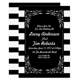 Preto elegante um convite branco do casamento da