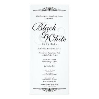 Preto em longo incorporado da dança branca da bola convite