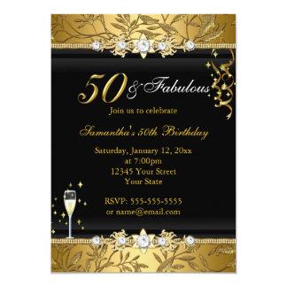 Preto fabuloso do aniversário da folha 50 da jóia convite 12.7 x 17.78cm