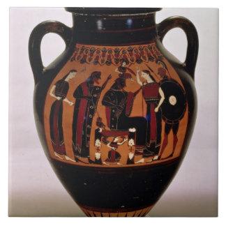 Preto-figura amphora do sótão que descreve o nasci azulejos