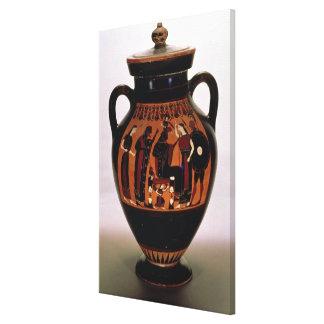 Preto-figura amphora do sótão que descreve o nasci impressão em canvas