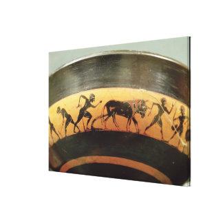 Preto-figura copo do sótão impressão de canvas esticada