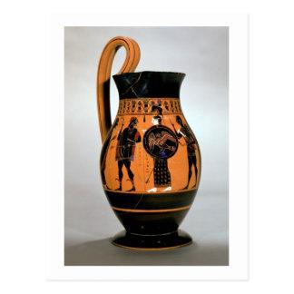 Preto-figura olpe do sótão que descreve Athena Cartão Postal