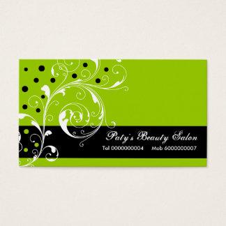 Preto floral da folha do rolo do salão de beleza, cartão de visitas
