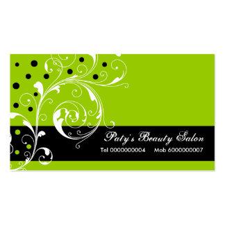 Preto floral da folha do rolo do salão de beleza, cartão de visita