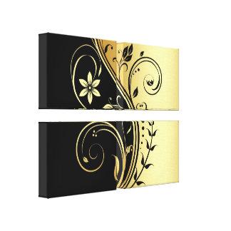 Preto & impressão floral das canvas do quadriláter impressão em tela