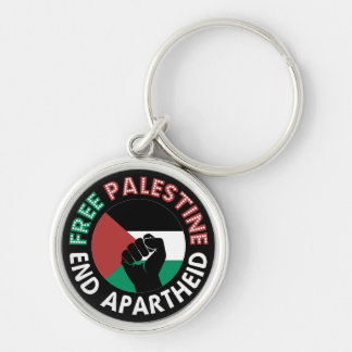 Preto livre do punho da bandeira do Apartheid do Chaveiro Redondo Na Cor Prata