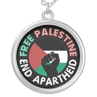 Preto livre do punho da bandeira do Apartheid do Colar Com Pendente Redondo