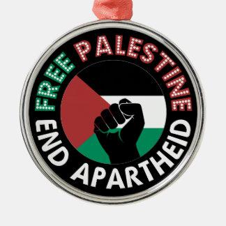 Preto livre do punho da bandeira do Apartheid do Ornamento Redondo Cor Prata