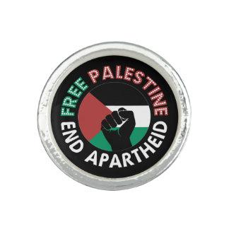 Preto livre do punho da bandeira do Apartheid do Anéis Com Imagem