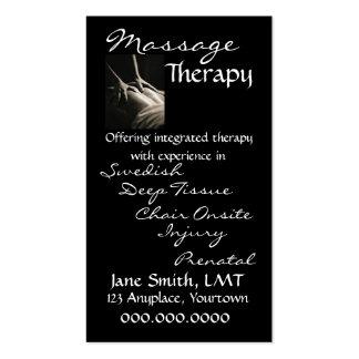 Preto lustroso da terapia da massagem cartão de visita