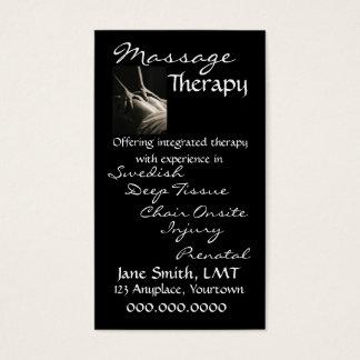 Preto lustroso da terapia da massagem cartão de visitas