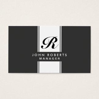 Preto moderno do monograma elegante profissional cartão de visitas