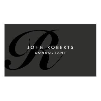 Preto moderno elegante profissional do monograma cartão de visita