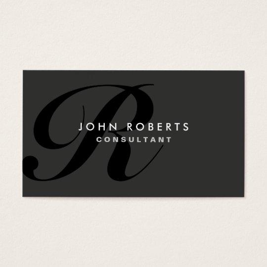 Preto moderno elegante profissional do monograma cartão de visitas