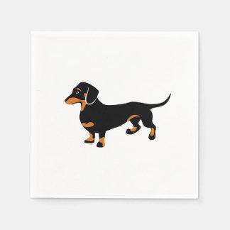 Preto pequeno bonito e Dachshund de Tan - cão de Guardanapo De Papel