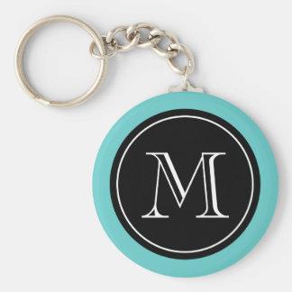 Preto personalizado de turquesa do chaveiro do m