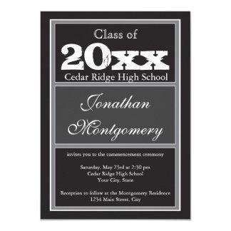 Preto personalizado dos anúncios da graduação convite 11.30 x 15.87cm