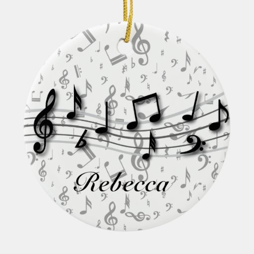 Preto personalizado e notas musicais cinzentas enfeite para arvore de natal