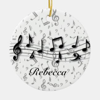 Preto personalizado e notas musicais cinzentas ornamento de cerâmica redondo