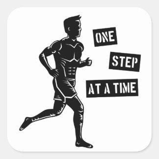 Preto Running inspirador das citações do homem Adesivo Quadrado