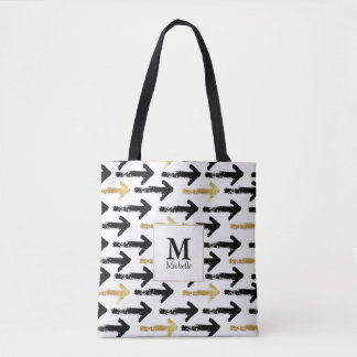 Preto & sacola do monograma da seta do ouro bolsa tote