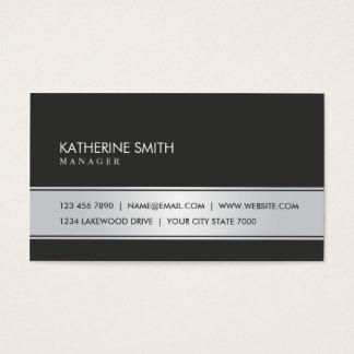 Preto simples liso elegante e de prata cartão de visitas