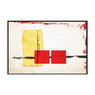 Preto vermelho amarelo moderno minimalista austero impressão de canvas envolvida