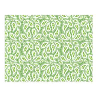 Primavera Paisley verde floral Cartão Postal