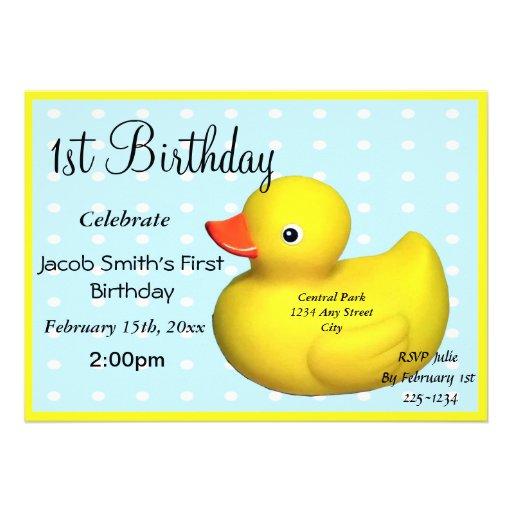Primeira borracha do aniversário Ducky Convites Personalizado