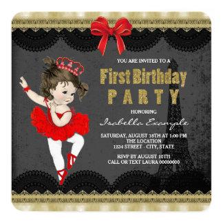Primeira festa de aniversário da bailarina convite quadrado 13.35 x 13.35cm