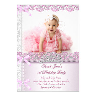 Primeira princesa Cor-de-rosa Foto dos partys girl Convite 12.7 X 17.78cm