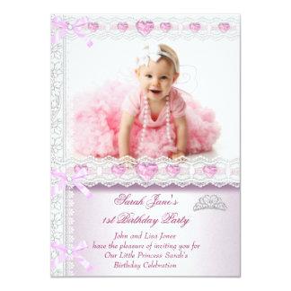 Primeira princesa Cor-de-rosa Foto dos partys girl Convites Personalizados