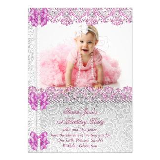 Primeira princesa Cor-de-rosa Foto dos partys girl Convite Personalizados